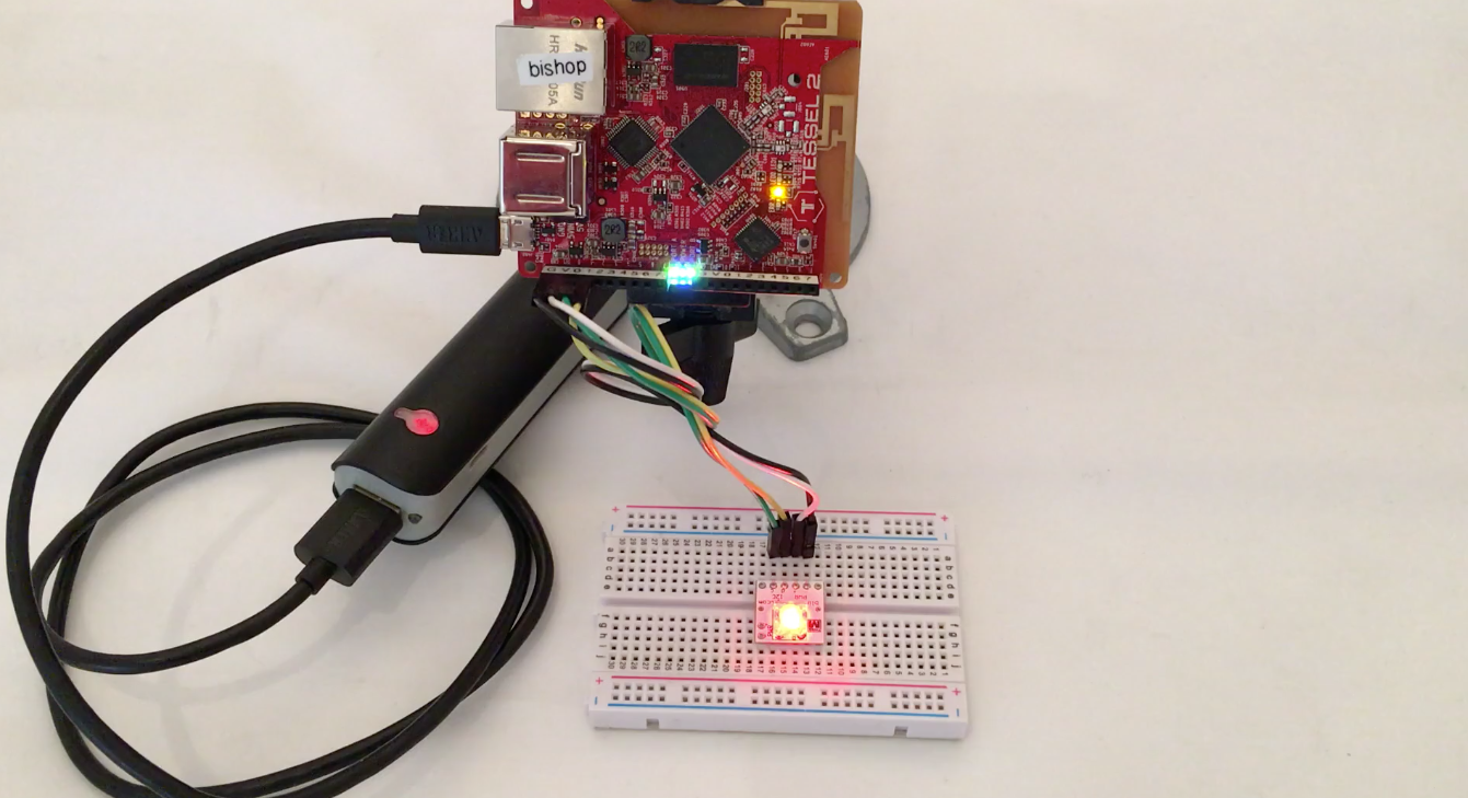 Say Hello World With Johnny Five On Tessel 2 Completed Rainbow Led The Can Be Mounted Off Board Using Wires Blinkm 1