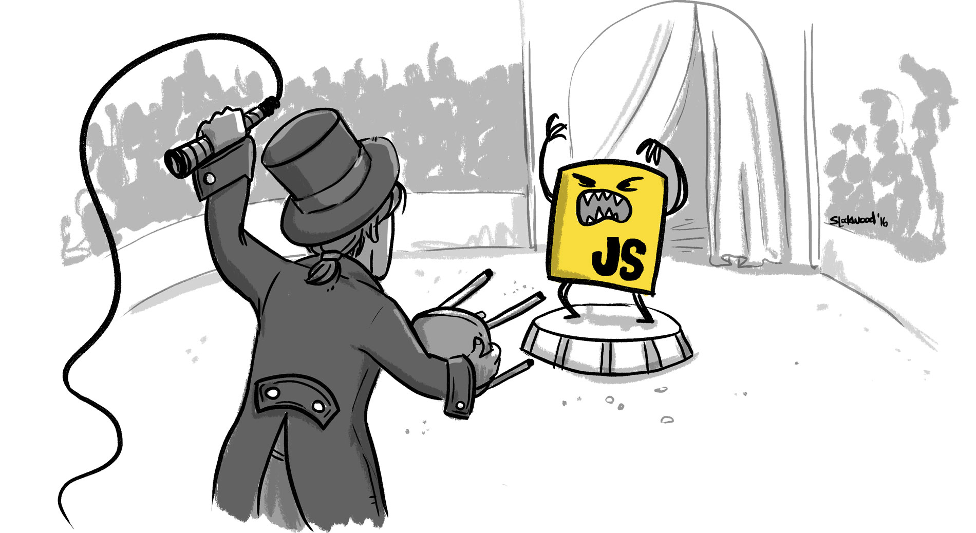 An illustration of a carnival barker holding back the JavaScript logo