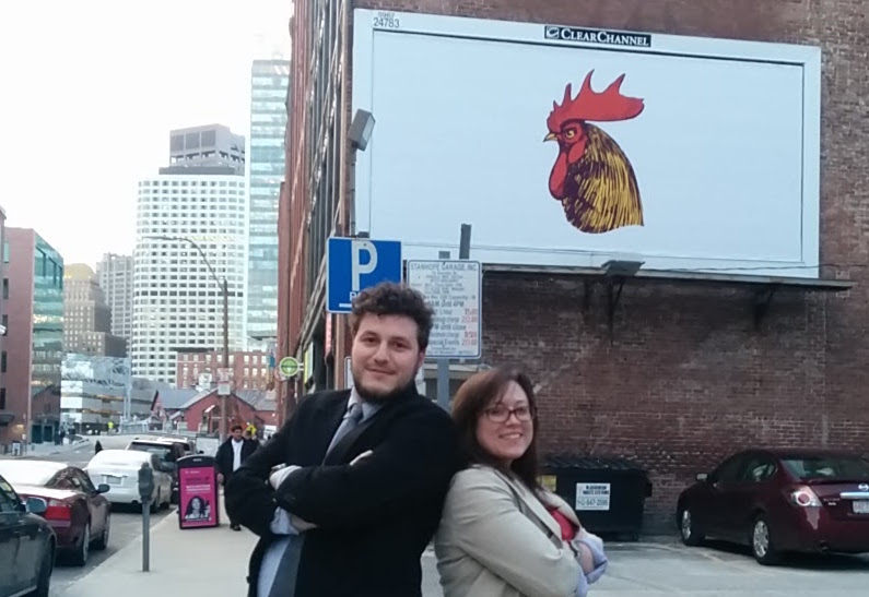 Jory and Boaz in front of the Bocoup billboard, Spring 2014.