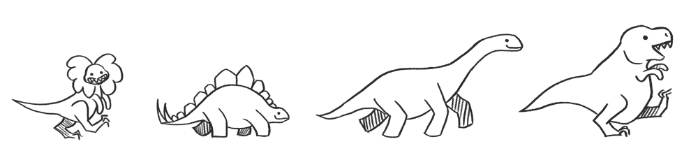 An illustration of a line of dinosaurs marching forward