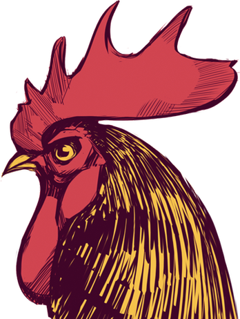 Bocoup's company logo, which is a hand illustrated rooster in red, yellow and brown, with purplish hues in the brown. The illustration was made by the Boston based artist Billy Nunez in 2009. The rooster's name is Bob.