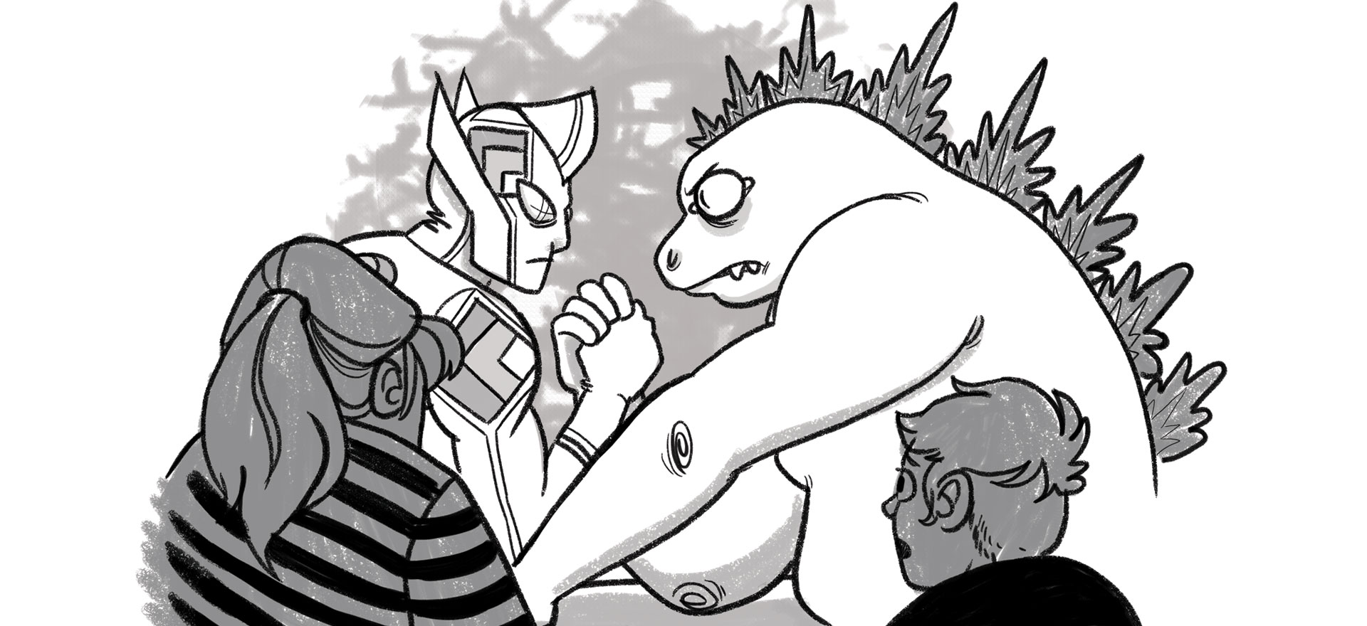 The RICG, represented by an Ultraman-like character, arm-wrestling a web standards kaiju to a stalemate.