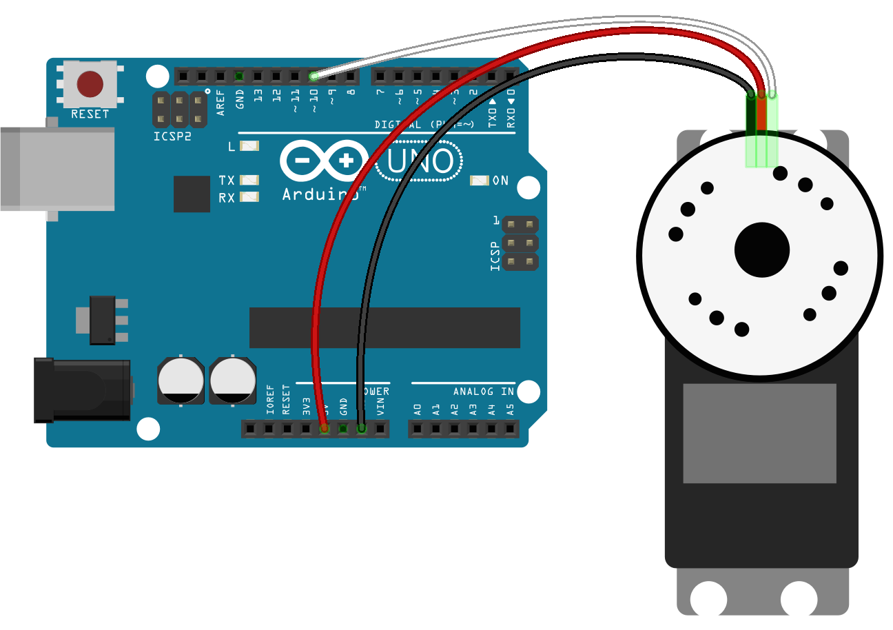 Diagram of how to connect a continuous servo to an Arduino microcontroller