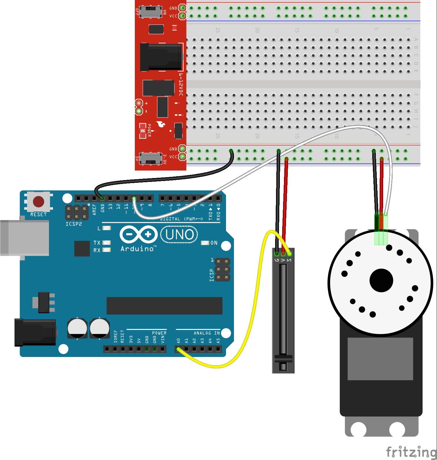 Javascript arduino slide controlling a servo tutorial
