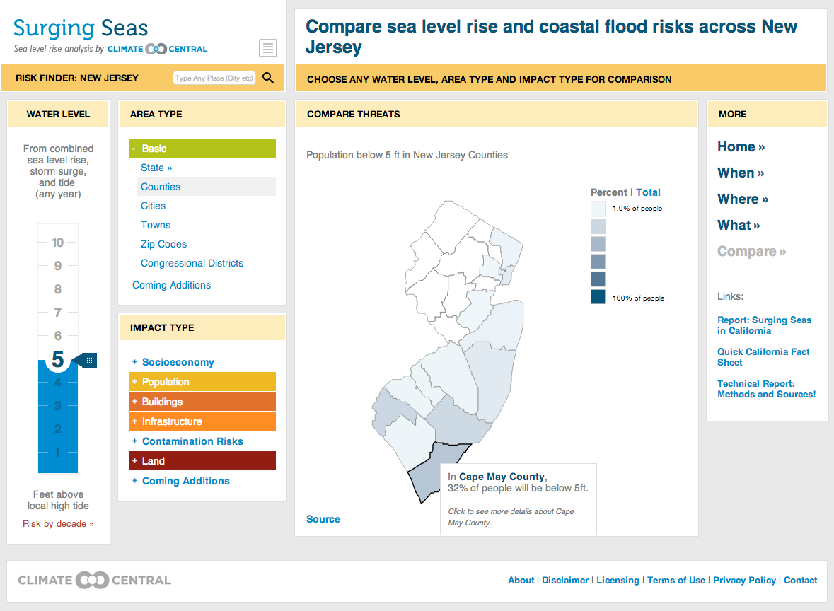 Surging Seas Risk Finder State Page
