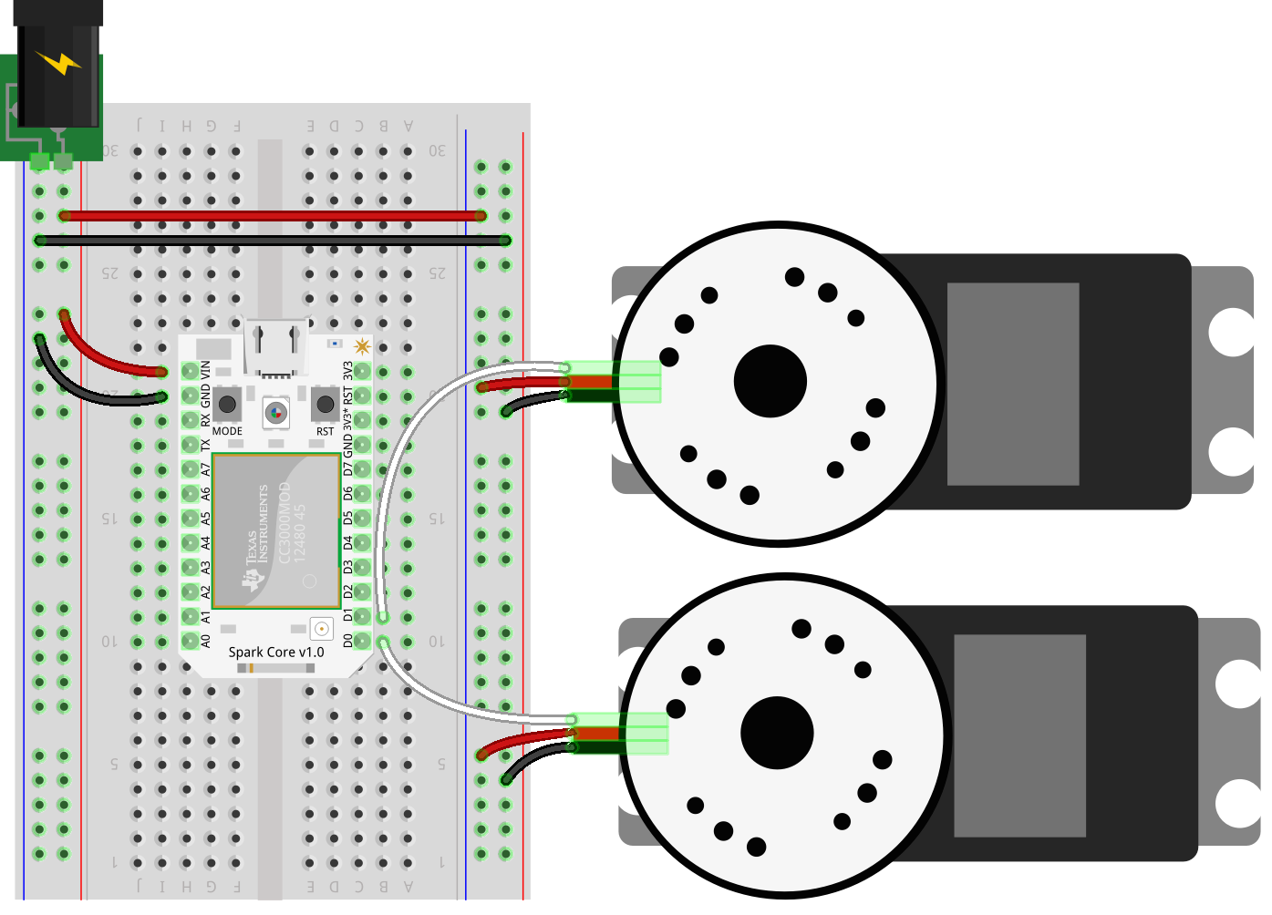 Spark Core SumoBot Circuit