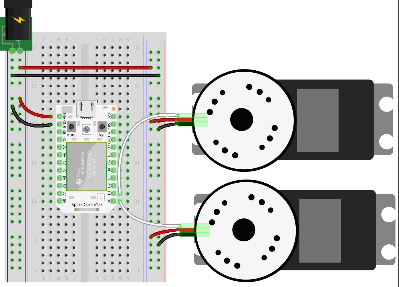 Spark Core SumoBot Circuit